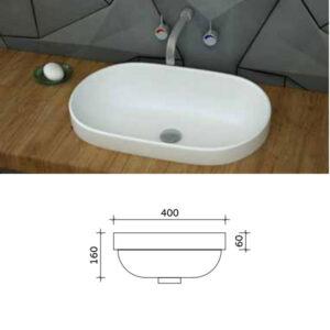 כיור מונח חצי שקוע מותאם לארונות אמבטיה דגם דן