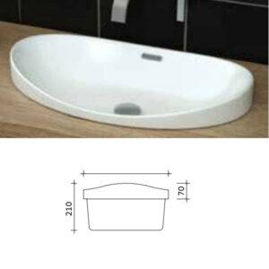 כיור מונח חצי שקוע מותאם לארונות אמבטיה דגם גוב