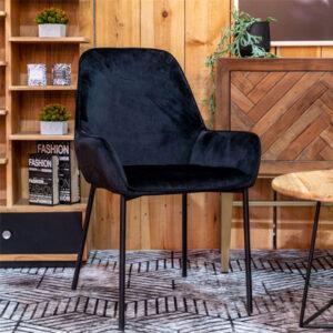 כסא קטיפה שחור דגם שוהם