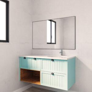 ארון אמבטיה יוקרתי 120-160 תלוי כולל משטח אקרילי דגם שירה